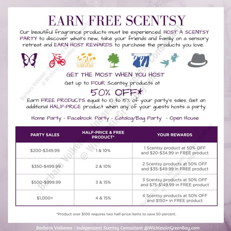 EARN FREE SCENTSY: Home Party | Facebook Party | Catalog/Basket Party  Open House | Our beautiful fragrance products must be experienced. HOST A SCENTSY PARTY to discover what's new, take your friends and family on a sensory retreat and EARN HOST REWARDS to purchase the products you love.