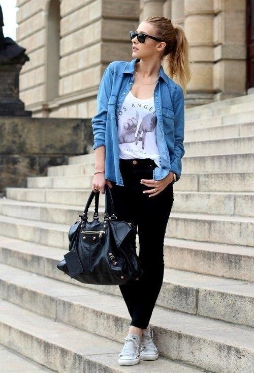 Street Style: Pair blue denim with black denim