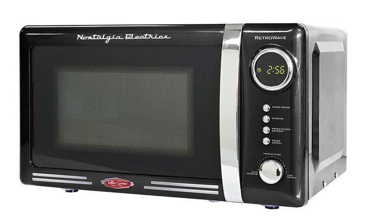 Nostalgia Electrics Retro Series 700 Watt Microwave Black Microwave Oven Retro #Nostalgia