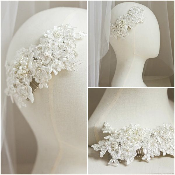 Bespoke lace bridal comb for Stacey