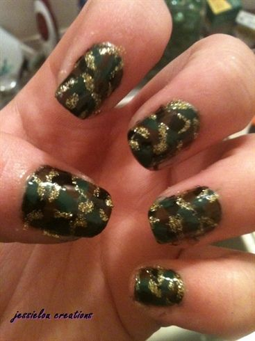 Camo nails! :D I think the gold sparkles give it just the right amount of pizazz...