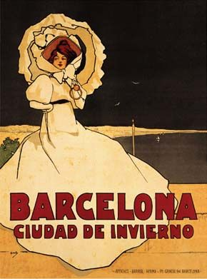 "Vintage Travel Poster from Barcelona. Reads, ""Barcelona: City of Winter."" Art Nouveau #essenzadiriviera www.varaldocosmetica.it/en"