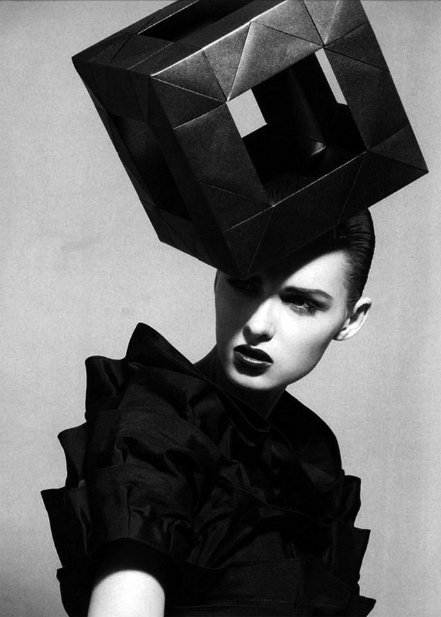 Architectural Fashion - 3D geometric headpiece; cube hat; wearable sculpture // House of Architects Millinery