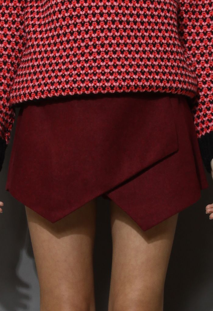 Wine Red Asymmetric Wool Felt Skort - Pants - Bottoms - Retro, Indie and Unique Fashion