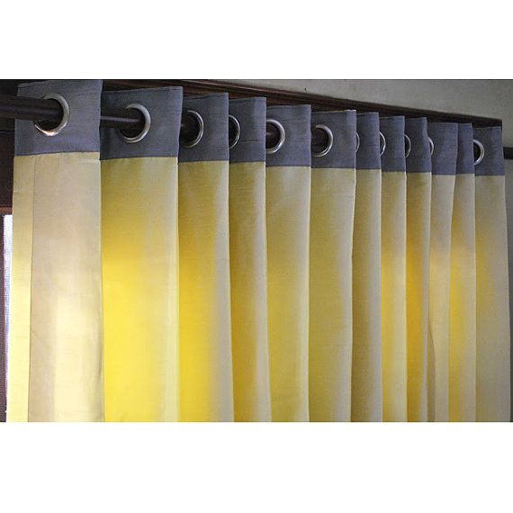 "shower curtains yellow gray | Yellow And Grey Curtain Panels 52""x84"" Grommet Drapes Living and ..."
