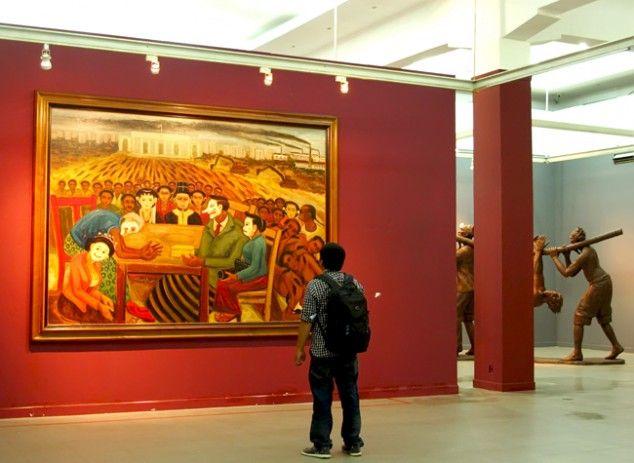 Works by Indonesian fine arts master Djoko Pekik are currently on display at the National Gallery in Jakarta. (JG Photo/Sylviana Hamdani) - The Jakarta Globe