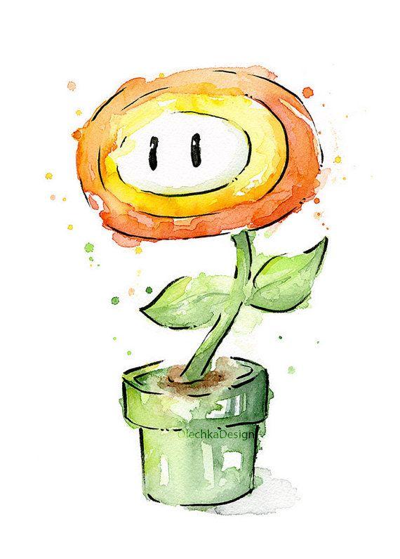 Fire Flower Watercolor Art Print, Mario Bros Painting Videogame Nintendo…