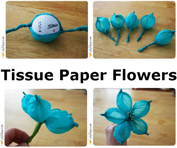 how to make tissue paper flowers without pipe cleaners