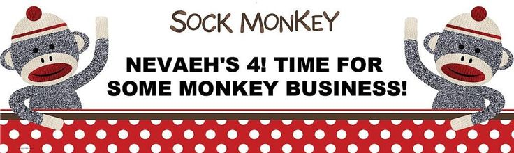 Sock Monkey Red - Personalized Banner