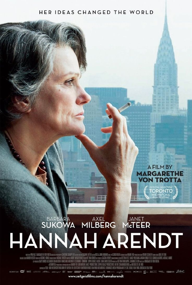 """Hannah Arendt (2012)  Barbara Sukowa, Axel Milberg, Janet McTeer  A brilliant new biopic of the influential German-Jewish philosopher and political theorist. Arendt's reporting on the 1961 trial of ex-Nazi Adolf Eichmann in The New Yorker—controversial both for her portrayal of Eichmann and the Jewish councils—introduced her now-famous concept of the """"Banality of Evil."""""""