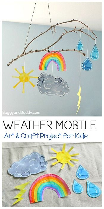 Un móvil sobre el tiempo hecho por niños. Es un proyecto divertido para realizar en la unidad meteorológica, se podrá colgar en su habitación de arte junto a los demás proyectos. Puede realizarse de manera cooperativa.