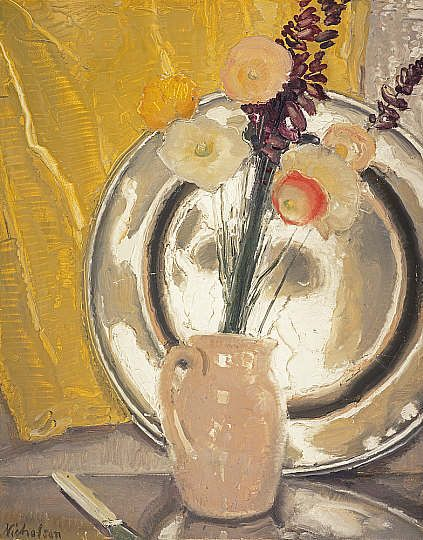 ca. 1933. Poppies in Pewter. Oil on wood - with palette knife. Sir William Nicholson. National Galleries of Scotland
