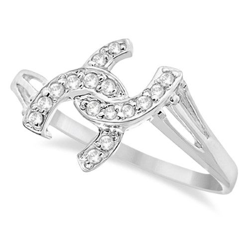 Double Horseshoe Diamond Ring in 14K White Gold (0.10ct), Women's, Size: 10