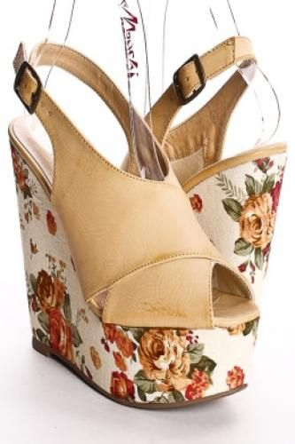 NATURAL FAUX LEATHER SLINGBACK FLORAL PLATFORM WEDGE HEELS