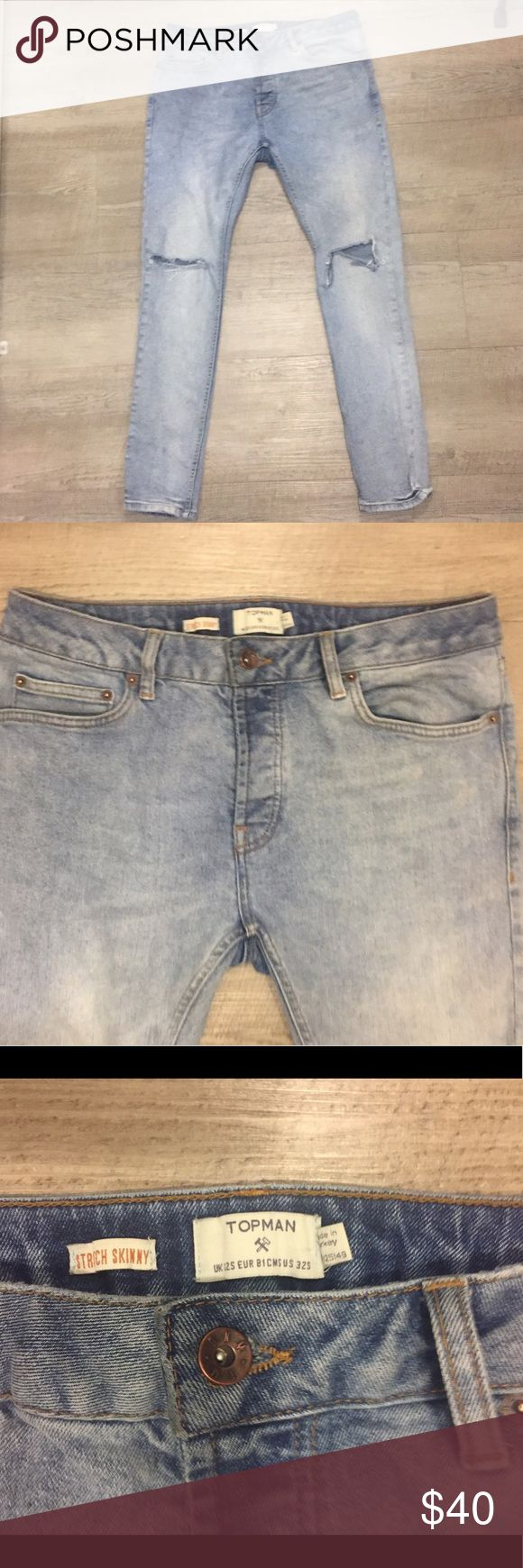 Topman Stretch Skinny Jeans  Open Knee 32s Worn twice Topman Stretch Skinny Light Wash jeans with open knees. Excellent condition. No wear. Topman Jeans Skinny