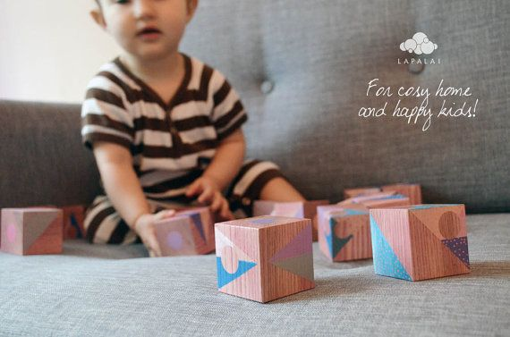 Artistic handmade wooden blocks set Unique author's by Lapalai - OUR baby