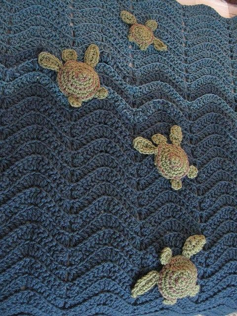 Ahhh-Dorable Baby Blanket With Lil' Sea Turtles ~ Inspiration only, no pattern! ♪ ♪ ... GB