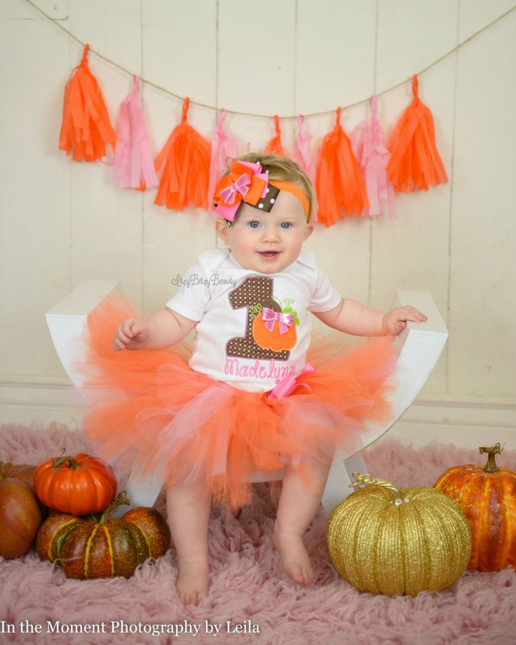 Halloween Fall Thanksgiving first 1st birthday embroidered pumpkin tutu outfit headband pink orange brown by Itzybitzybeauty on Etsy https://www.etsy.com/listing/247606792/halloween-fall-thanksgiving-first-1st