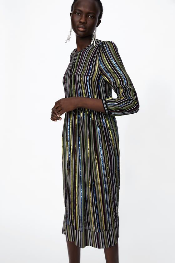 82180bb13305 Image 2 of STRIPED SEQUIN DRESS from Zara | STREET STYLE | Striped ...