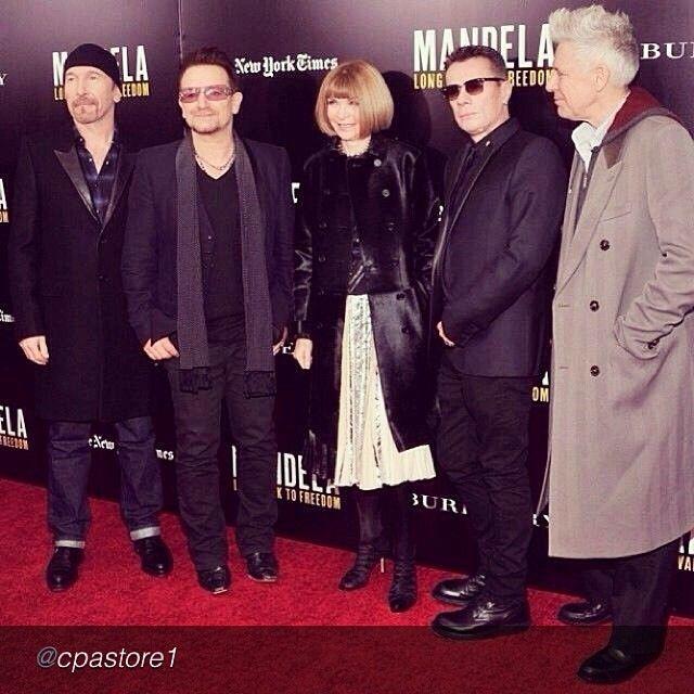 "U2 and Anna Wintour at the Mandela: Long Walk To Freedom screening, New York City, Novermber 2013 #u2NewsActualite #u2NewsActualitePinterest  #u2 #bono #PaulHewson #TheEdge #DaveEvans #DavidEvans #AdamClayton #LarryMullen #LarryMullenJr #music #rock #film #picture #cinema #LongWalkToFreedom #Mandela #2013 #nyc  by http://instagram.com/cpastore1 ""Holy Crap!! #U2 with #AnnaWintour #Mandela premiere #redcarpet #fashion""  http://instagram.com/p/hKwDd9ONad/#"