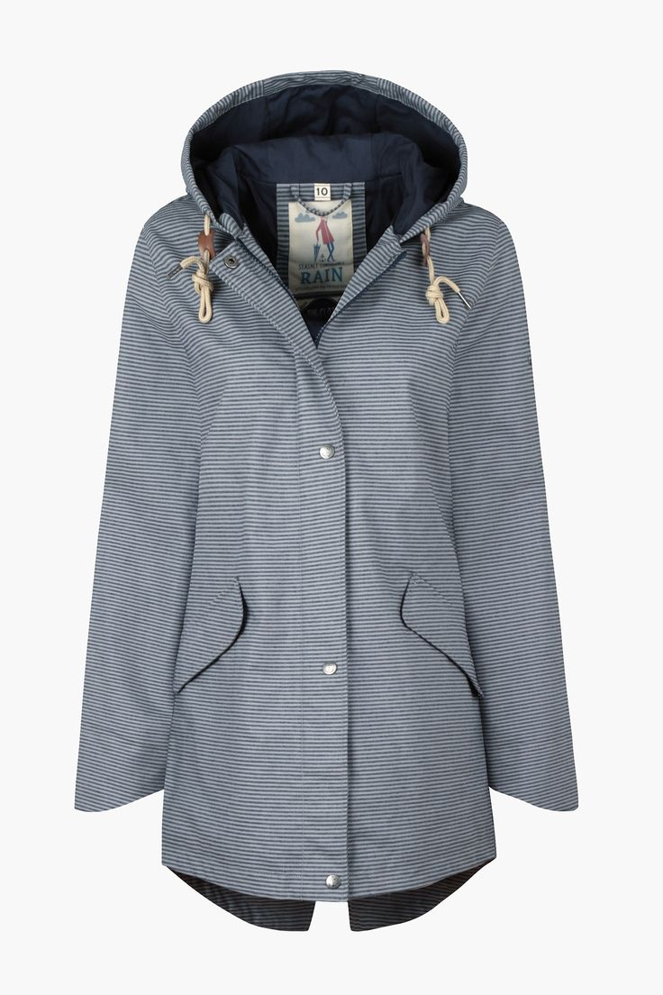 Stylish Seasalt raincoat, in our famous organic cotton canvas Tin Cloth© fabric. Lightweight, with a flattering silhouette and dipped parka-style hem.