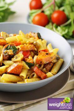 Healthy Dinner Recipes: Sweet Potato Penne Pasta. #HealthyRecipes #DietRecipes #WeightlossRecipes weightloss.com.au