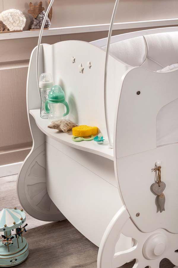 Estante lateral de la cuna carroza de la serie Softy Fairy de Cilekspain, dormitorios temáticos. Bebes.