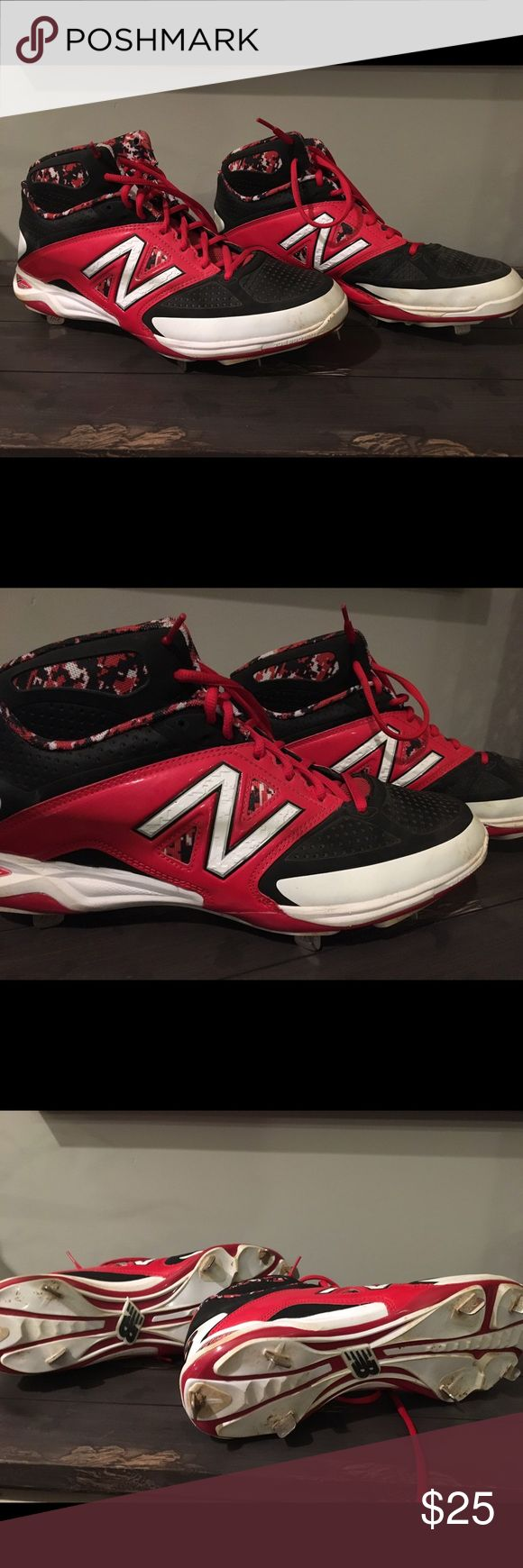 Red and black high top baseball metal cleats. High top metal baseball cleats in great condition! New Balance Shoes Athletic Shoes