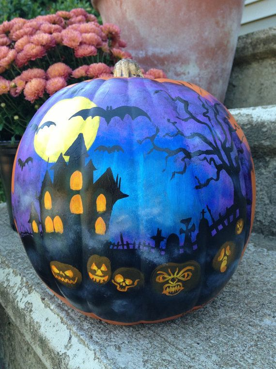 Haunted house Halloween scene painted on plastic by seinafowler, $49.00