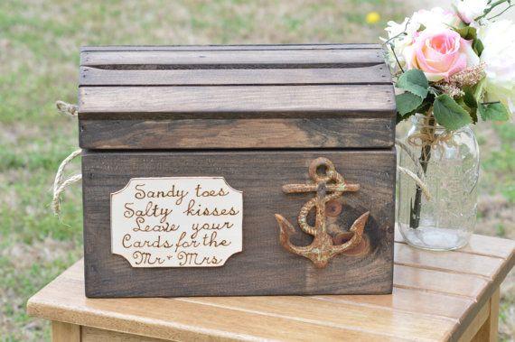 beach wedding card box anchor wedding by RedHeartCreations on Etsy