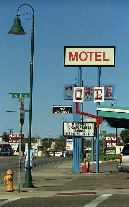 Santa Rosa, New Mexico. Vintage motels and street lights on the Mother Road. A welcome sight after a long day of travel on a two lane highway like Route 66, these neon signs are their own art form.