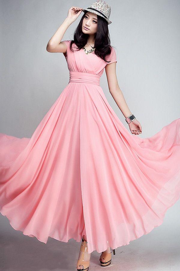 Wrapped V-neck High Waist Maxi Dress - OASAP.com
