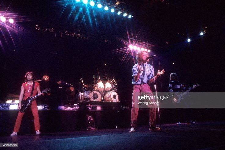British lead guitarist Mick Jones, American keyboardist Al Greenwood, American vocalist Lou Gramm and British bassist Rick Wills of the British-American rock group Foreigner performing live at New Haven Veteran's Coliseum on January 1, 1979 in New Haven, Connecticut.