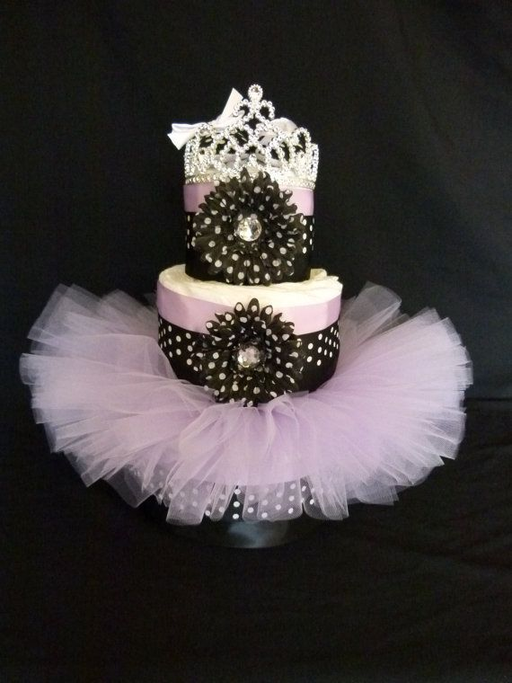 Black and Lavender  Princess Tutu Baby Diaper Cake by mamabijou, $80.00