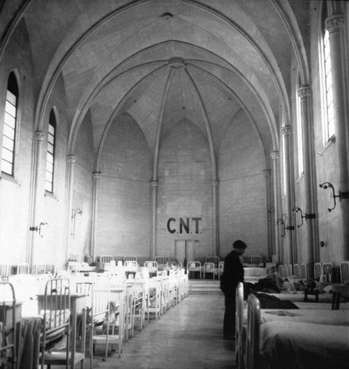 Kati Horna     Church Converted to a Hospital and Run By the Anarcho-Syndcalist CNT/FAI, Spain     c.1936