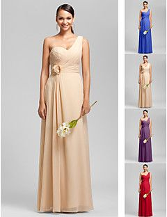 Floor-length+Chiffon+Bridesmaid+Dress+-+Ruby+/+Grape+/+Royal...+–+AUD+$+100.09