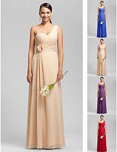 Vestido de Dama de Honor - Rojo/Uva/Azul Real/Champaña Corte Recto Solo Hombro/Escote Corazón - Hasta el Suelo Gasa Tallas grandes