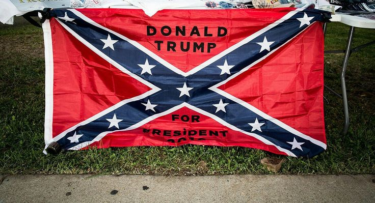 Confederate flag for sale at a recent Trump rally in Richmond, Virginia. |