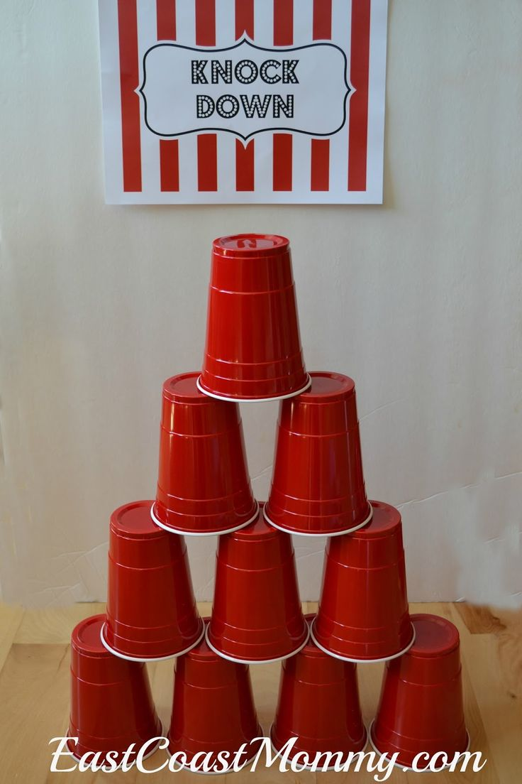 This site has a bunch of fantastic DIY carnival games and activities... including this simple KNOCK DOWN game. All you need are disposable cups and a cute sign!