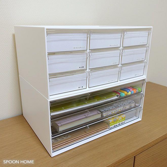 ニトリ ワイド収納ケース3段 オールホワイト の収納アイデア 紙類