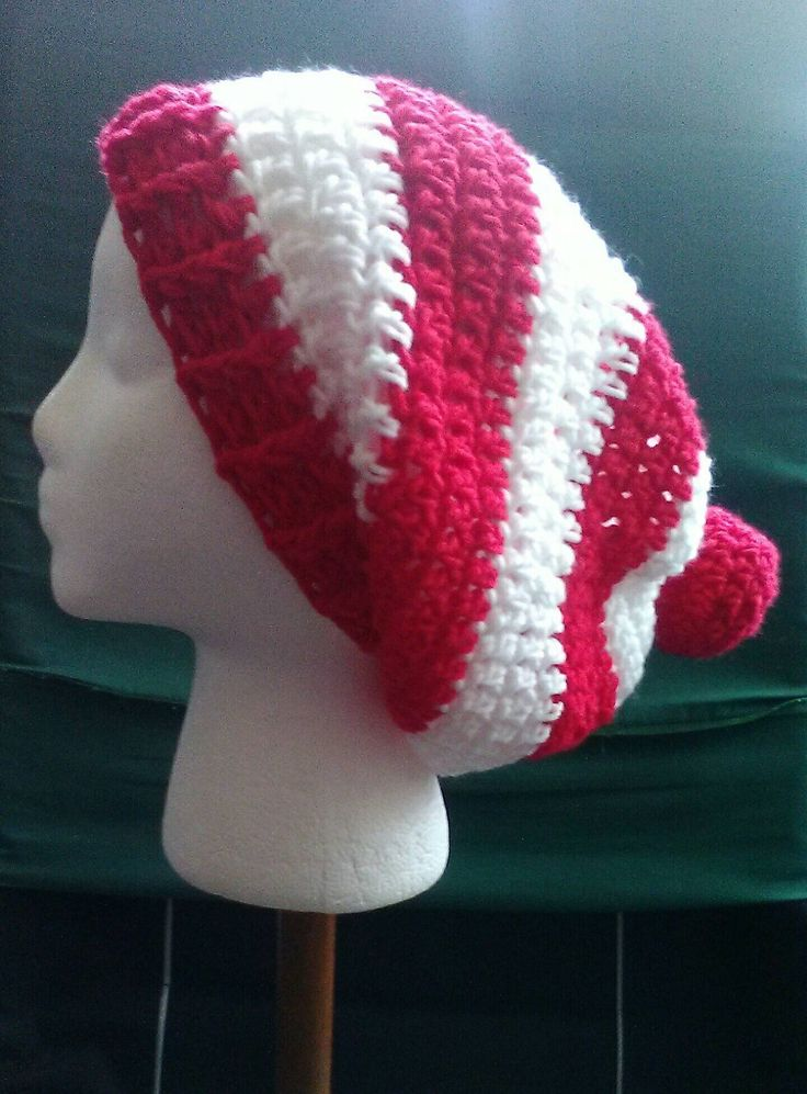 Where's Waldo, Red and White Crochet Slouchy Hat, Red and White Hat, Christmas Crochet Hat, Red & White Stripes, Ready to Ship, B87-17-0921 by NoreensCrochetShop on Etsy