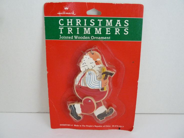 Hallmark, Christmas Trimmers, Jointed Wooden Ornaments, Santa w / tools, Made in the People's Republic China by BjsDoDads on Etsy
