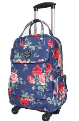 fa087be9a Women Business Travel Trolley Bags travel Backpacks with wheels luggage  trolley backpack Mochila Oxford Rolling Baggage Suitcase