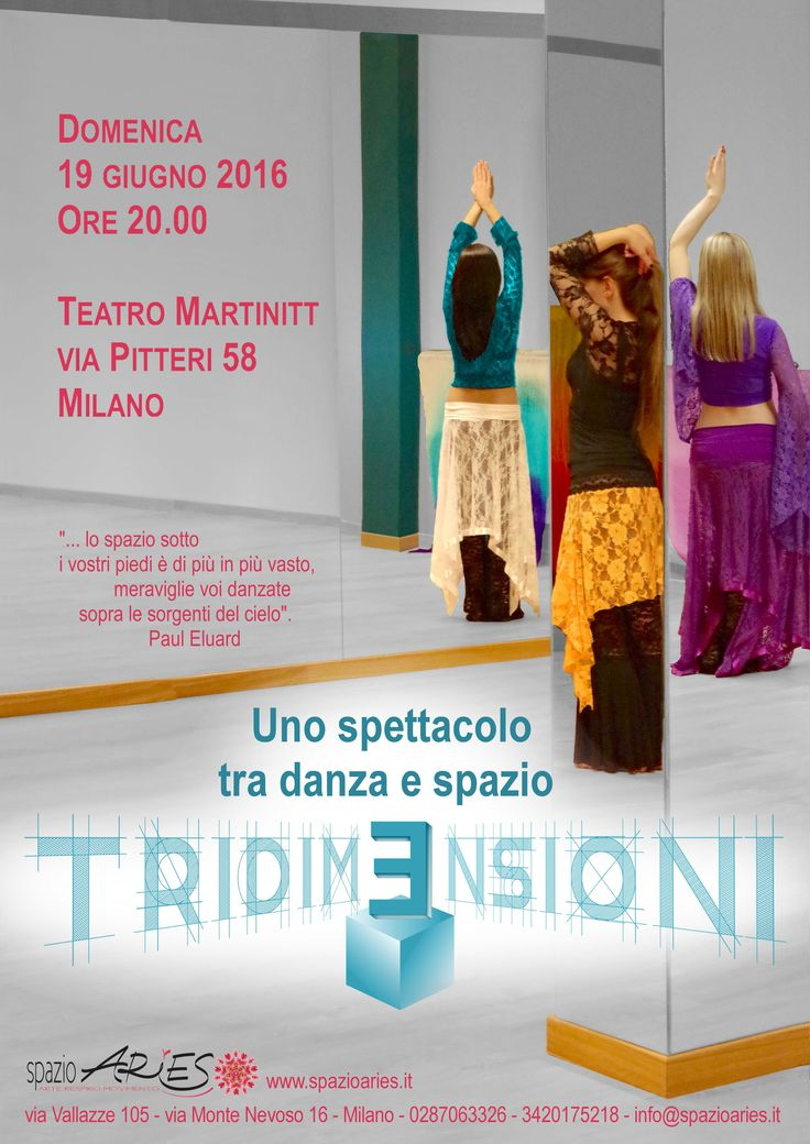 #Spettacolo di danza e musica etniche a cura degli insegnanti di Spazio Aries Domenica 19 giugno alle ore 20.00 Teatro Martinitt via Pitteri 58  Mil