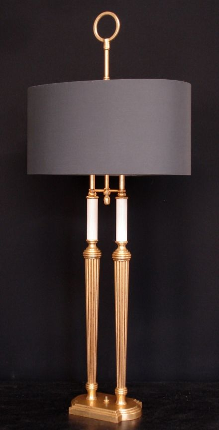 Bouillotte table lamp roger sterling two column empel collections materials bronze brass