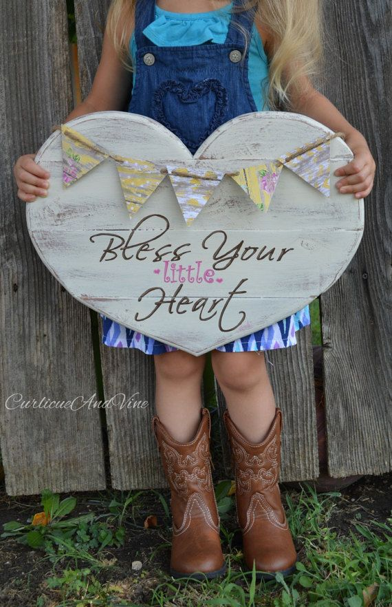 Girls Room - Baby Girl - Pallet Wood Sign - Bless Your Little Heart - Personalized - Pallet Board - Shabby Cottage Chic - Rustic Barnwood