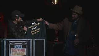 Thomas Rhett Presents Logan Kornegay with Tour Manager of the Year Award at the CMA Touring Awards
