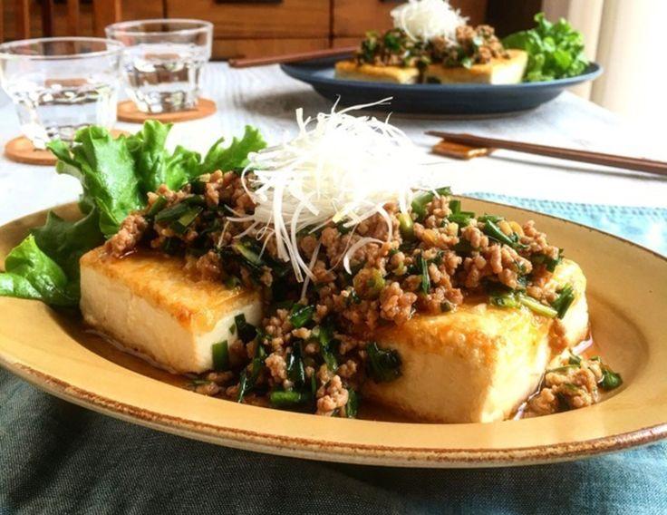 中華風 にら肉味噌のとうふステーキ (レンジで簡単お豆腐の水切り)*冷凍つくりおき*ヘルシー*節約* by ゆーママさん | レシピブログ