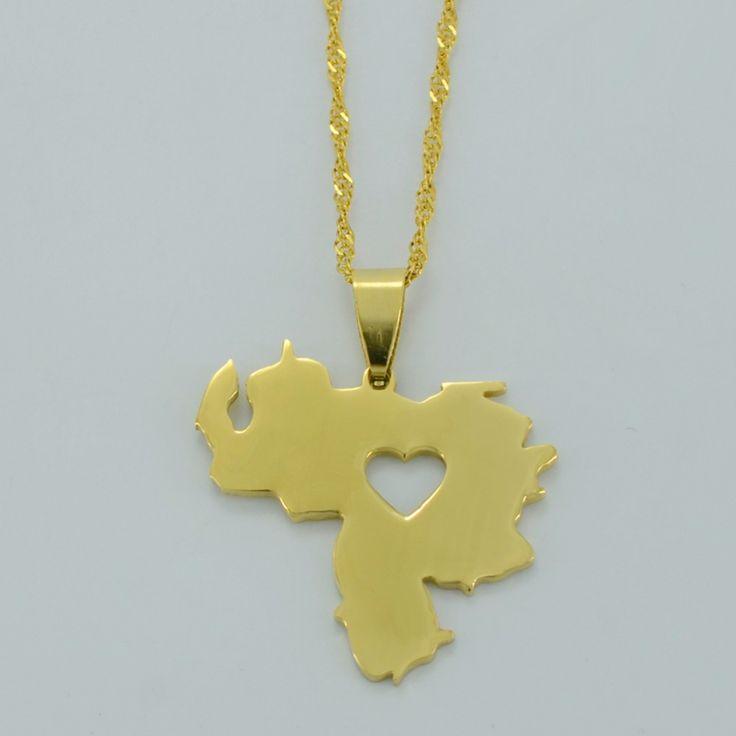 Venezuela Pendant Necklace for Women/Men - Yellow Gold Plated Jewelry Map of Venezuela Necklaces #005705