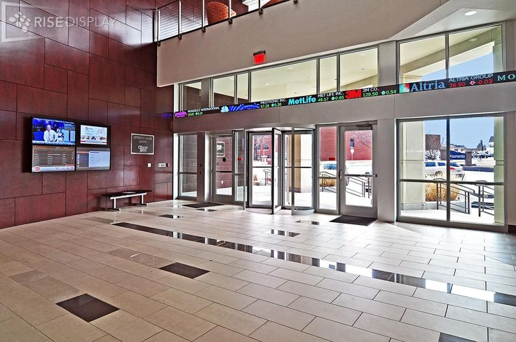 Citizens Bank Lobby at East Central University features a video wall and stock ticker